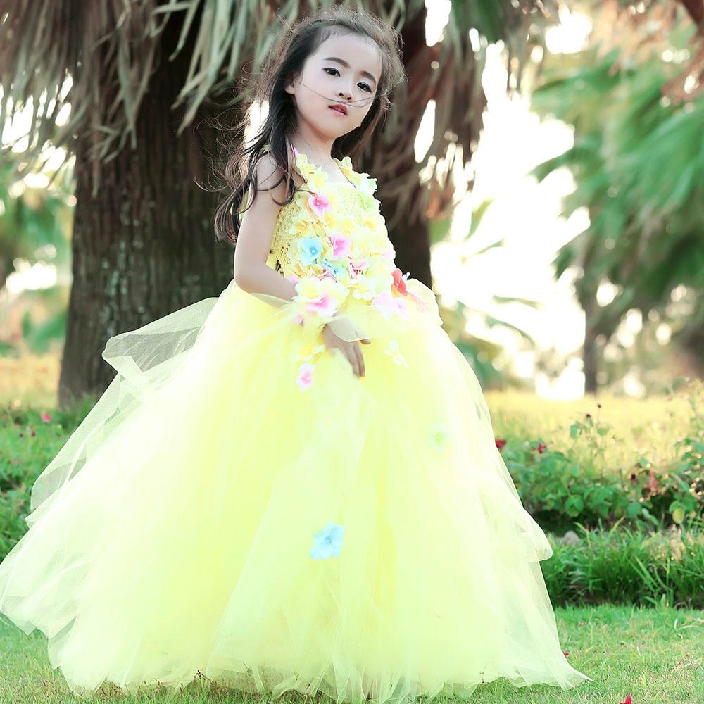 Fluffy Yellow Hydrangea Tutu Dress Flower Girl Wedding Bridesmaid