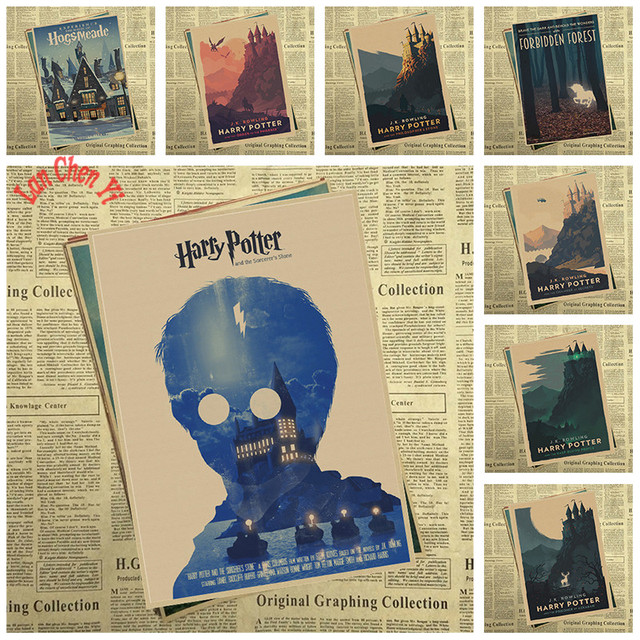Harry Potter Il Ration Cl Ic Movie Kraft Paper Poster Cafe Creative Wallpaper Interior Decoration Free Shipping