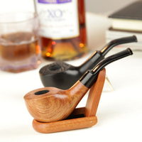 Classic Rosewood Pipes 9mm Activated Carbon Double Filter Core Wood Smoking Pipe Herb Tobacco Pipe Cigar