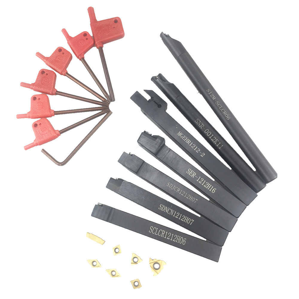 ALLSOME 7PCS 12mm Shank Lathe Boring Bar Turning Tool Holder Set Carbide Inserts Wrench MGEHR1212 2