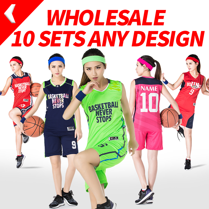 10 Sets/Lot College Basketball Jersey Custom for Girls