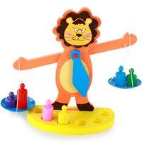 [TOP] Cartoon Wooden Lion Balance Scale Weigh Bean Libra Pendulum Early Learning Developmental Toys kids baby math toy gift