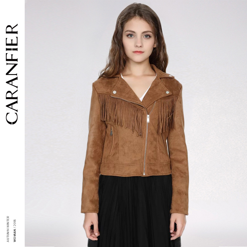 CARANFIER Women High Quality   Suede     Leather   Jacket Spring Fall Casual Fashion Ladies Tassel Coat Biker Jacket Red Brown   leather