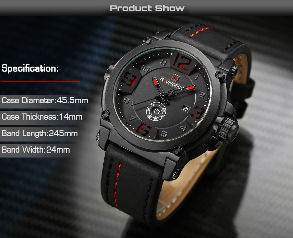 3  High Model Luxurious NAVIFORCE Males Sports activities Watches Males's Military Navy Leather-based Quartz Watch Male Waterproof Clock Relogio Masculino HTB12qo1fHsTMeJjSsziq6AdwXXaM