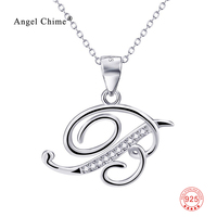 New Arrival 100 Real Pure 925 Sterling Silver 26 Initial Letters Pendant Necklace Charming Jewelry For
