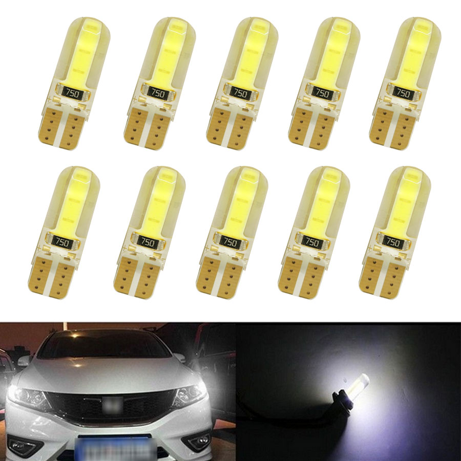 10pcs New Car Styling LED T10 194 W5W COB LED Lights CANBUS Error Free License Side Wedge Light Lamp Bulb 10pcs super bright led lamp t10 w5w 194 6smd 4014 error free canbus interior bulb white for car dc 12v free shipping new