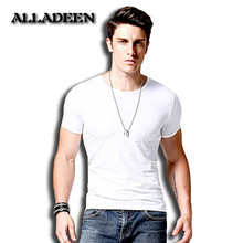 Alladeen 2017 t shirt men brand clothing summer solid t-shirt male casual tshirt fashion mens short sleeve plus size 4XL
