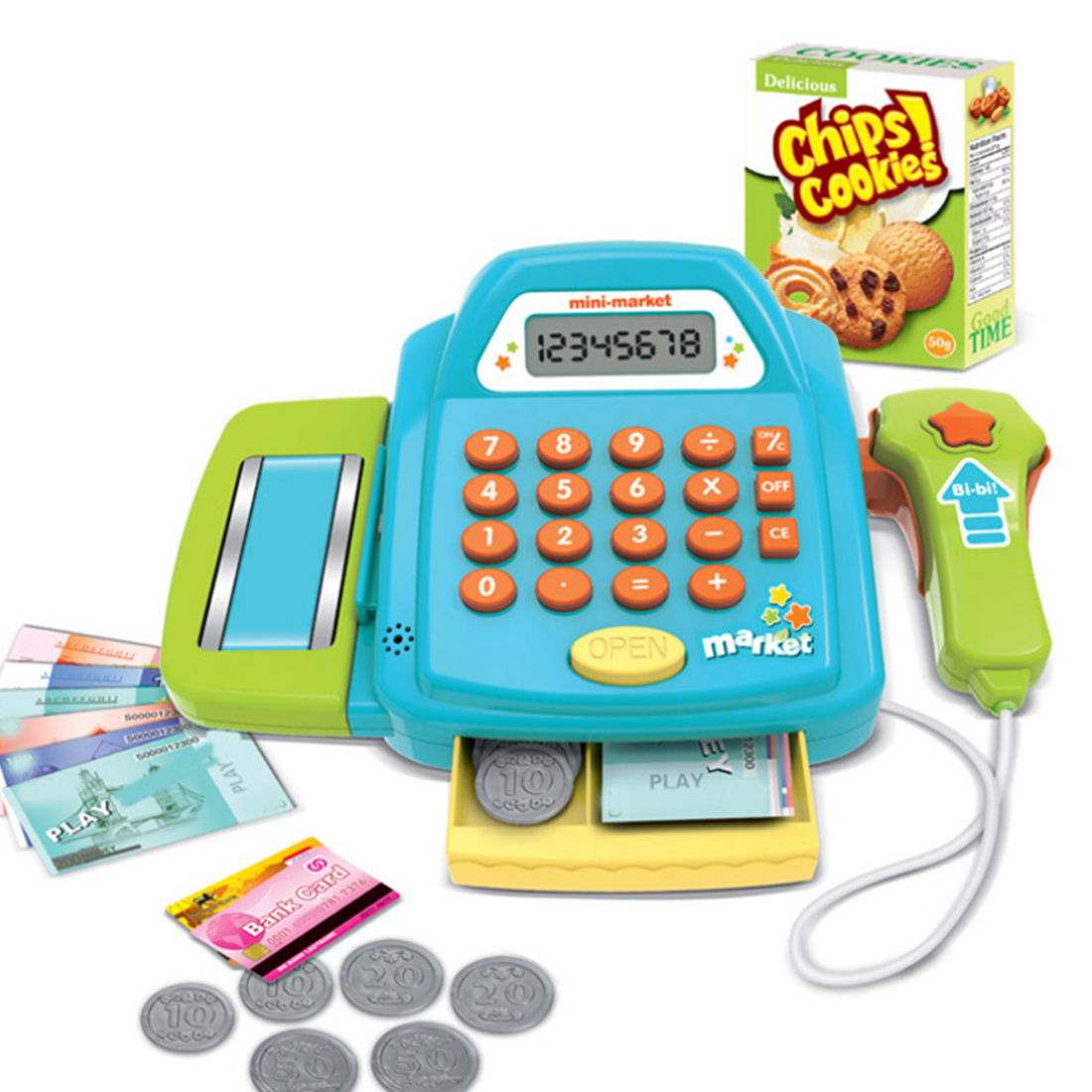 NFSTRIKE Funny Pretend Play Furniture Toys Cash Register Cashier Children Early Educational Toy for Kids Boys Girls - Pink Blue