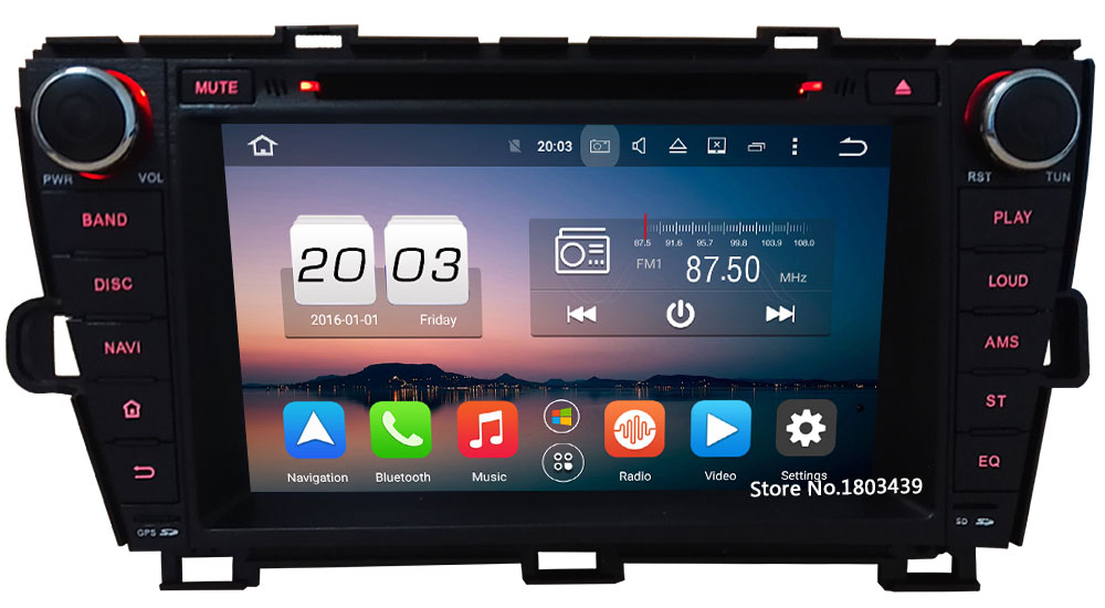 Octa Core Android 6.0 8″ 32GB ROM 2GB RAM 4G WIFI Car DVD Player Radio For Toyota Prius LHD 2009 2010 2011 2012 2013 2014 2015