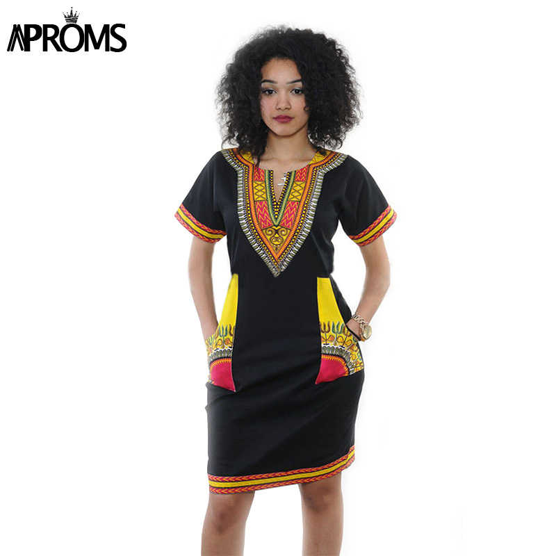 9db55872b9c ... Aproms Women Summer Bodycon Dress 2018 Robe Sexy Casual Sundress Plus  Size Clothing Vintage African Print ...
