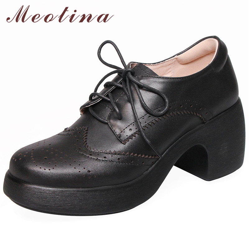 Meotina Women Shoes High-Heels Pumps Square Genuine-Leather Ladies Size-34-40 Lace-Up