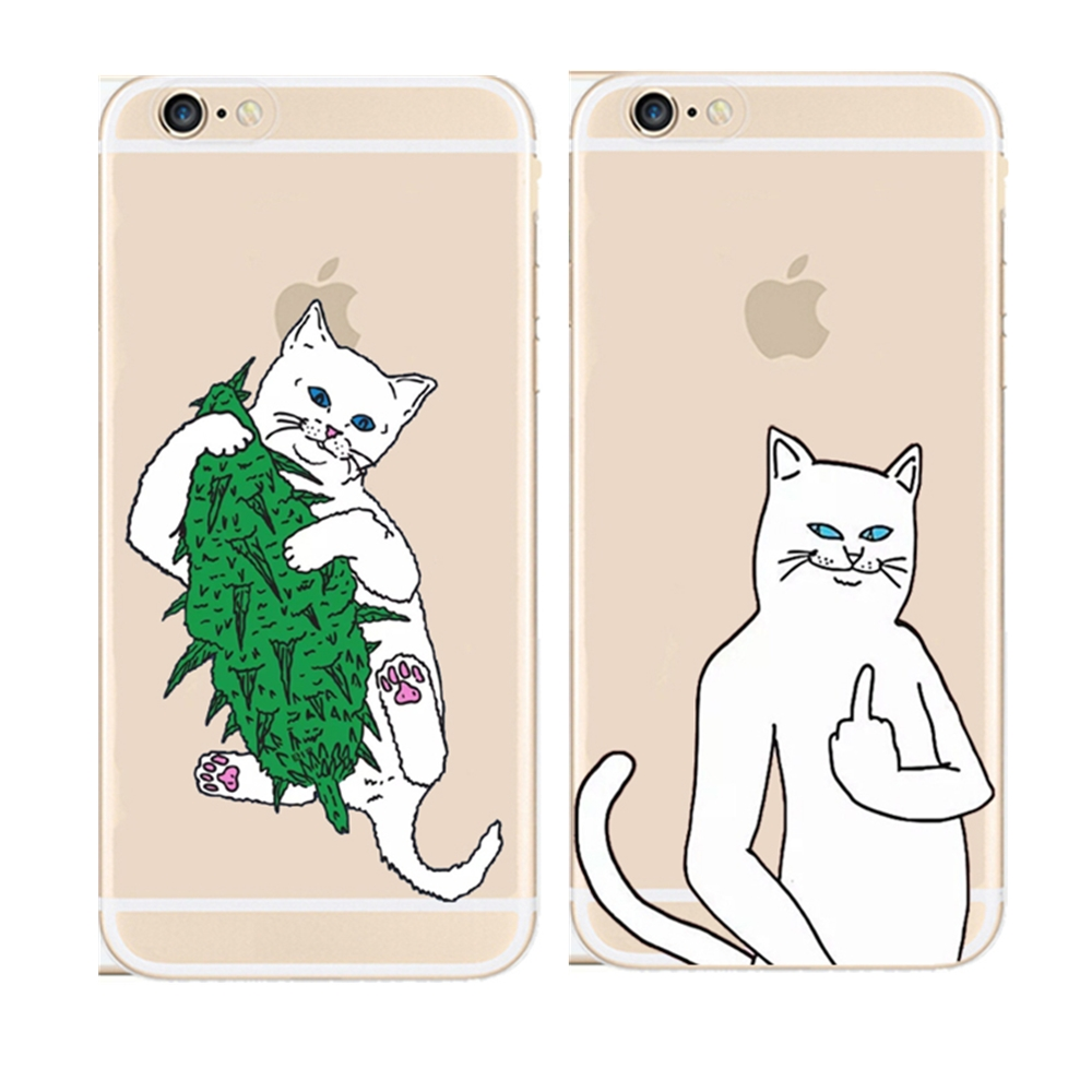 Soft Silicone Phone Cases Cute Ripndip Middle Finger cat slim TPU Back Cover Case For Apple iPhone 4 4S SE 5 5S 5C 6 6S 7 Plus