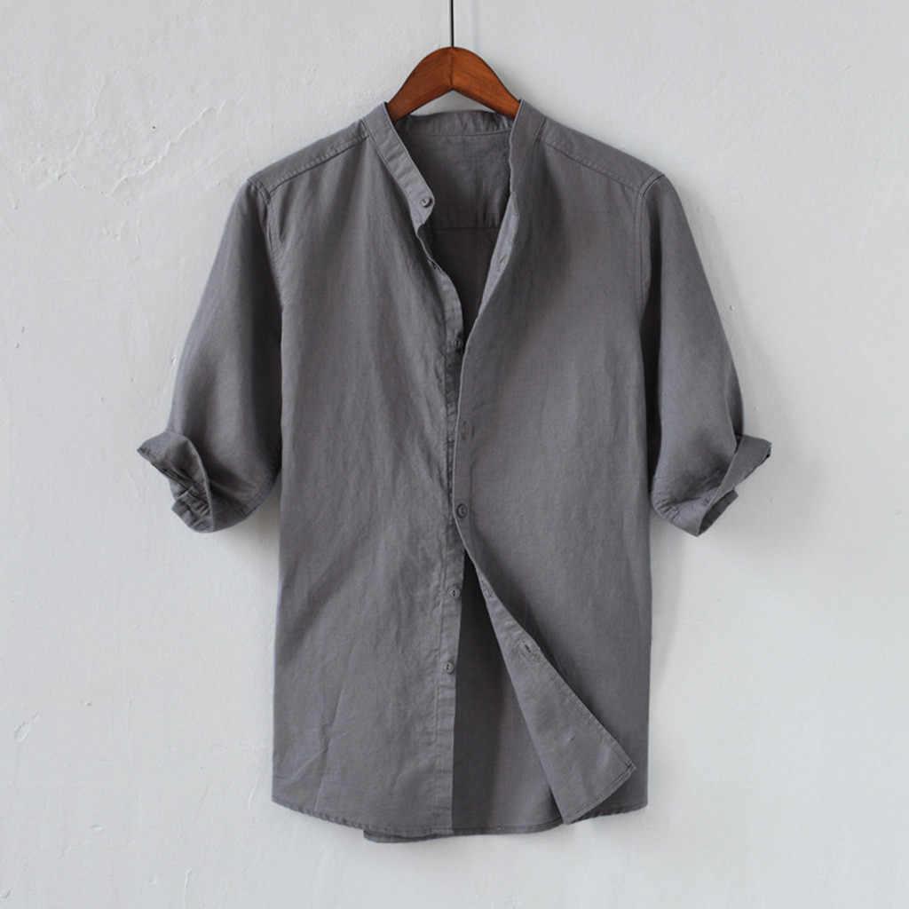 Letnia koszula męska oddychająca guzik bawełniana koszula męska pięciopunktowa koszulka z rękawem przyczynowa męska bluzka najlepszy streetwear Camisa masculina