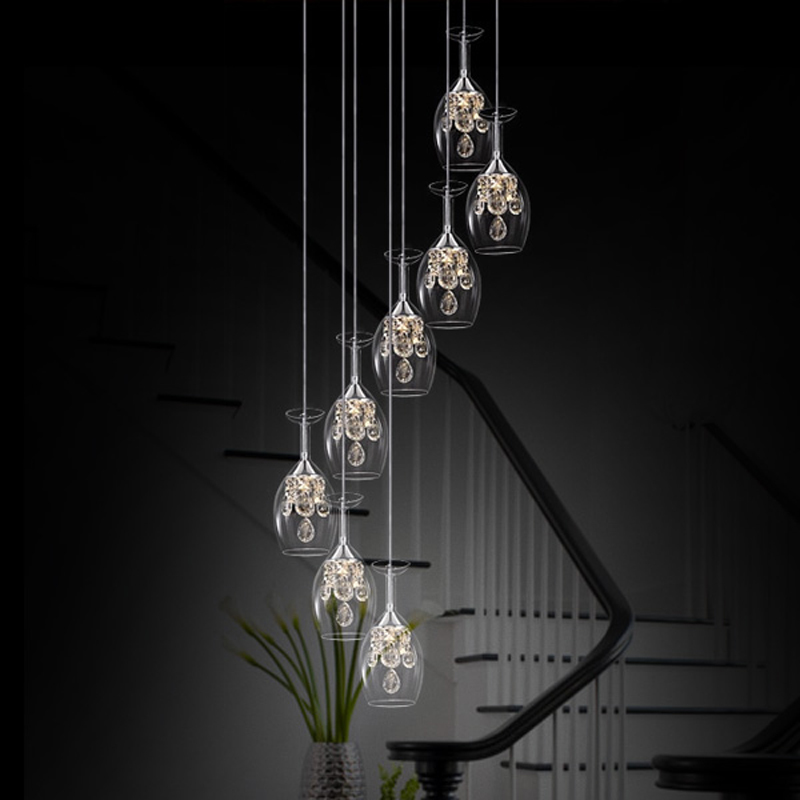Stairs Transparent and clear home lights Wine Glass restaurant LED crystal pendant lamp creative personality ZA SJ122 lo1024 creative glass pendant lights personality transparent bar restaurant study pendant lamps 1pc red gray orange glass lighting za