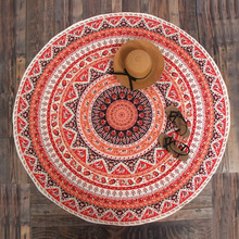 CAMMITEVER tapiz fino para Playa, Toalla de Playa, grande, redondo, rojo, estilo nacional, bohemio, estampado, Toalla, servilleta de Plage