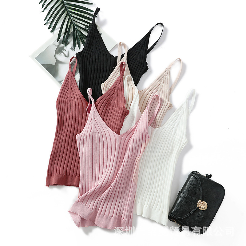 New Summer   Women's Wear  Knitted V Collar Sleeveless Pure Color Sexy Scuff Sling Vest