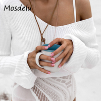 Mosdelu Off The Shoulder Sweaters Casual Autumn Women Sweaters And Pullovers Short Knitted Sweater Crop Top