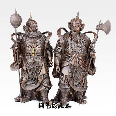 "22"" China Two Door Gods Guardian Yu Chigong & Qin Qiong Protector Warrior Statue Decoration 100% real Brass Bronze