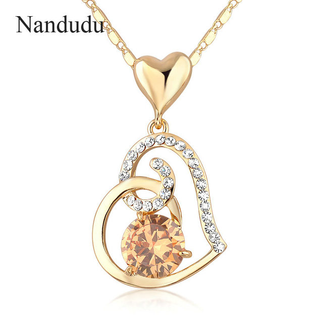 Nandudu Rose Austrian Crystals Heart Pendant Necklace For Valentineu0027s Gift  Of Lover Female Women Jewelry N9