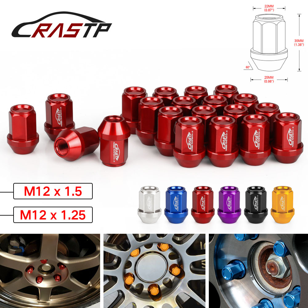 RASTP - Performance 20PCS M12x1 5 M12X1 25 Racing Forged 7075-T6  Lightweight Lug Nuts 35MM Wheel Lug Nut RS-LN045