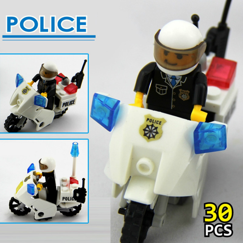 City Police Motorcycle Blocks Toys Early Learning Education Assembled Building Block Improve Hands-on Ability For Children 30pcs Good Reputation Over The World