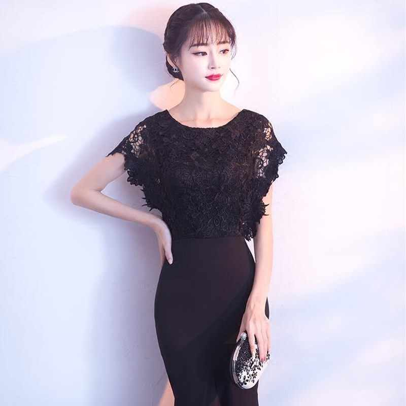 761d7f3bc9 ruthshen 2018 Long Evening Dresses Black Lace Top Ruched Mermaid Style  Women Formal Vestidos Largos De Noche Evening Dresses