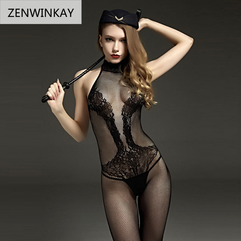 <font><b>2018</b></font> Erotic Lingerie for Women <font><b>Sex</b></font> Underwear Porn Babydoll Dress Hot Lace Mesh Open Crotch Costume Nuisette Sexy Teddy Lingerie image