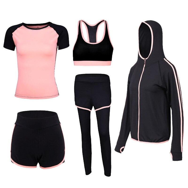 2019 Yoga costumes femmes Gym vêtements Fitness course survêtement Sport soutien-gorge + Sport Leggings + Yoga Shorts + Top 5 pièce ensemble grande taille S-2XL