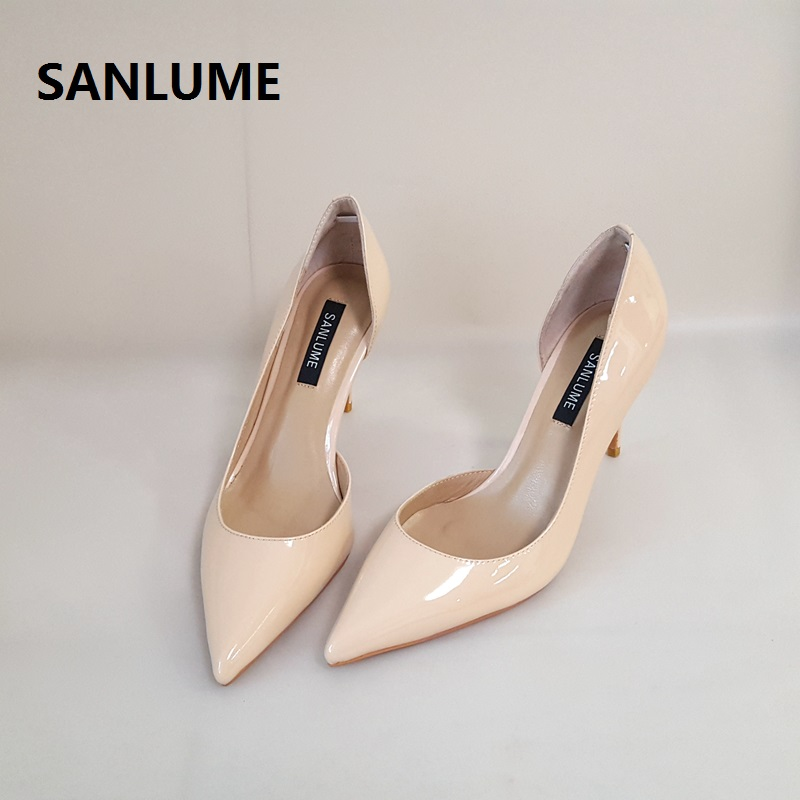 SANLUME Lady Shoes Wedding-Pumps Pointed-Toe Nude High-Heels White Party Women Patent