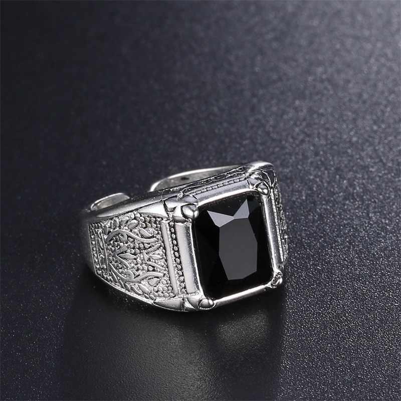 خمر التايلاندية الفضة الأسود كريستال 925 الاسترليني الفضة الإناث خواتم الاصبع للرجال النساء حلقة مفتوحة لا تتلاشى انخفاض الشحن هدية رجل
