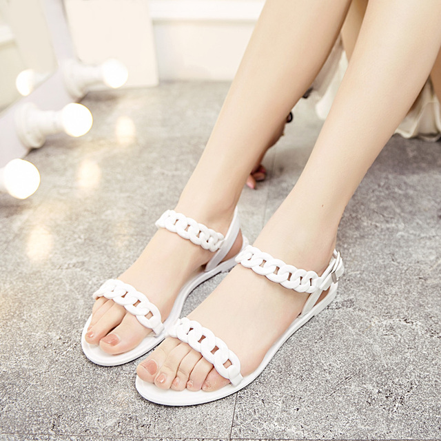 dc26cab116709 Cheap Women Flat Sandals Ladies Jelly Shoes Summer Simple Female Shoes  Woman Beach Shoes Sandalias Mujer Black white WSH2055