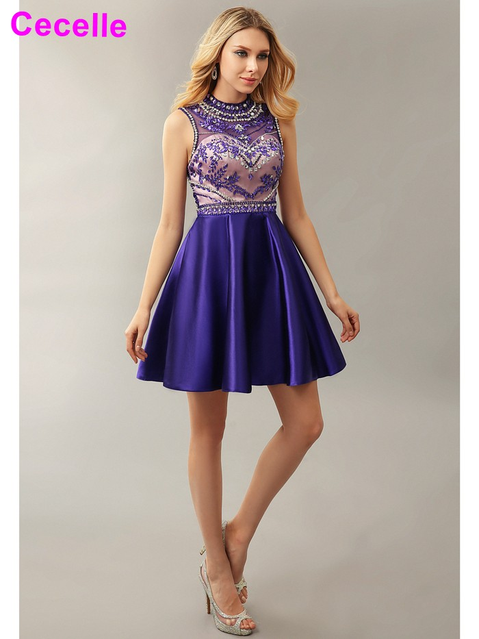 2019 New Arrival Short Knee Length Beaded   Cocktail     Dresses   For Girls Crystals High Neck Purple Sexy Open Back Robe De   Cocktail