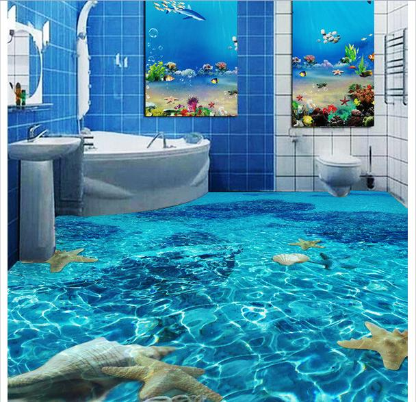 Custom Photo Waterproof Floor Wallpaper Clear Water Toilet