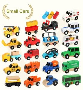 EDWONE деревянный магнитный Поезд Самолет деревянная железная дорога вертолет автомобиль грузовик аксессуары игрушка для детей подходит под ...