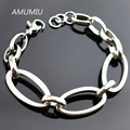 AMUMIU 2017 Stainless Steel Bracelets Jewelry Body Hand Chain For Women Men Wholesale HZB090