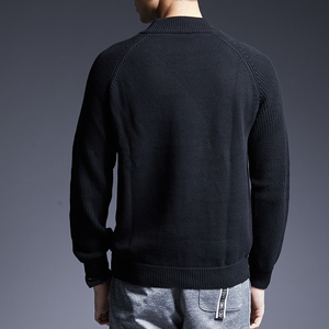 Image 4 - Мужской свитер с высоким воротником, облегающие вязаные Джемперы, толстый осенний корейский стиль, повседневная мужская одежда, 2020