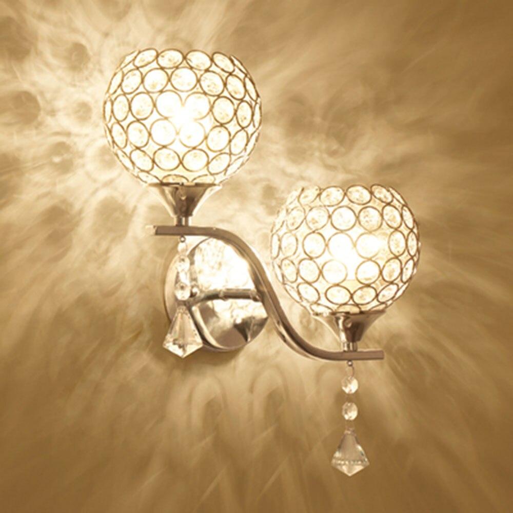 HGhomeart Fashion Crystal Wall Sconce Luminaria Led Wall Lamp 110-220V Nordic Bedside Lamp Wall Reading Lamps Wall Mounted Light