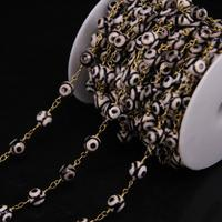 5Meter 8mm Two Eyes Dzi Agates Faceted Round Beads Chain Black White Agates Brass Wire Wrapped