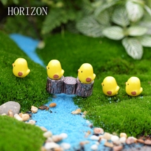 5pcs/lot Miniature Fairy Figurines Cute Mini Chick Garden Miniatures Artificial Micro Landscape Resinas Manualidades