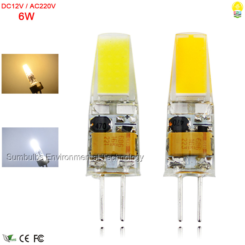 DC12V AC220V G4 LED Lamp 6W Ultra Bright Mini Lampada G4 COB LED Bulb Lights Replace Halogen Chandelier Lamps Warm/ Cold White
