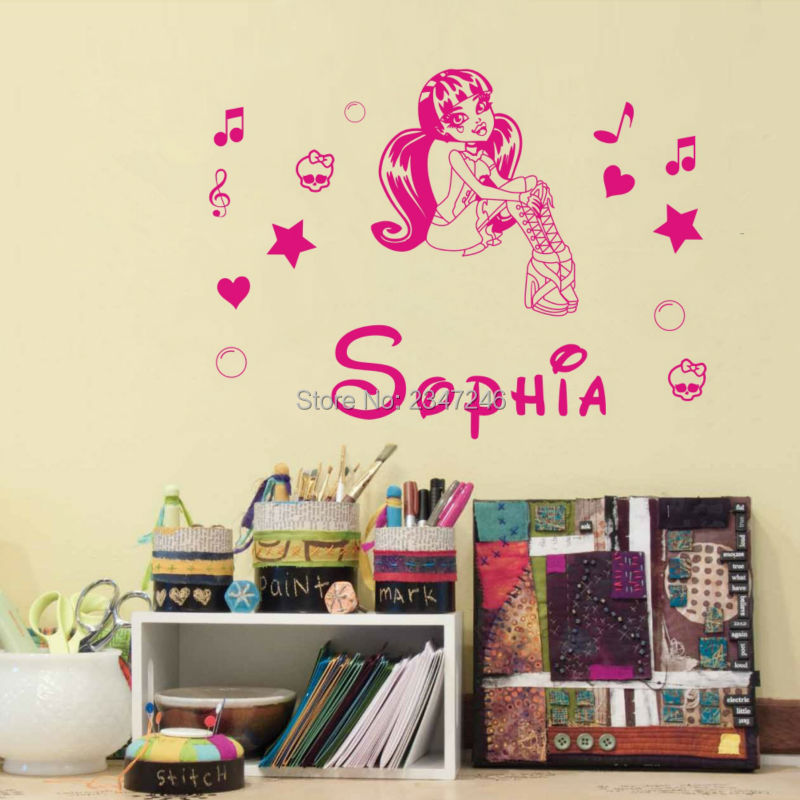 Customer Made Name Monster High Draculaura Vinyl Personalized Wall Decal Mural Kids Children Wall Sticker for Gril Room Decors