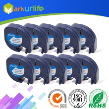 ФОТО 10 pcs/lot for dymo letratag tape 91201/91331/91221/59422 black on white( plastic ) 4m*12mm worked for dymo label maker