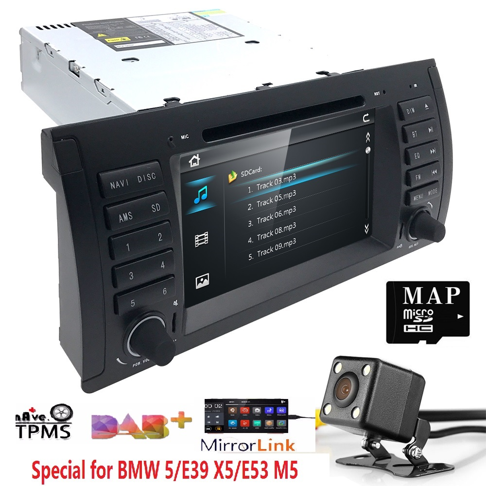Car Multimedia Player GPS audio Autoradio For BMW/E39/X5/M5/E53 navigation Car Radio 1 Din IPS Touch Screen dab Rear view camera