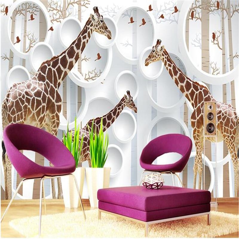 giraffe bedroom living wall circle animal custom background modern decor mural sofa painting paper