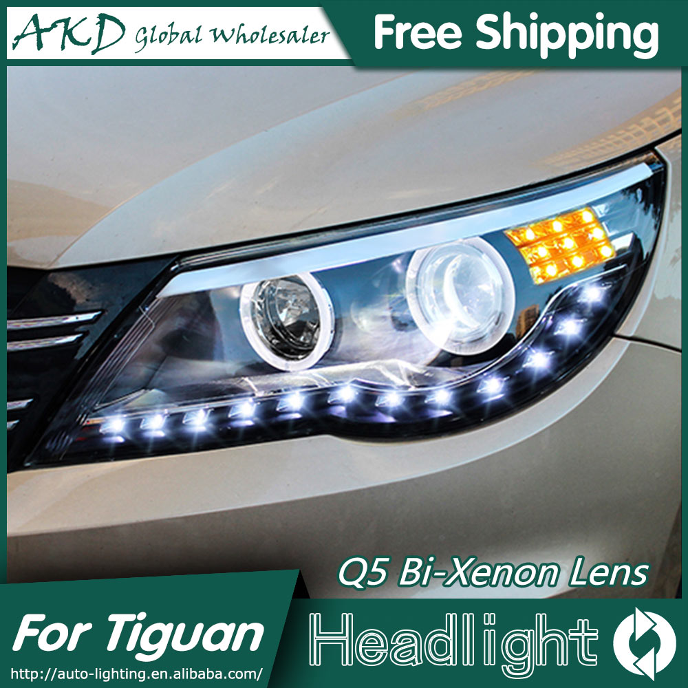 AKD Car Styling for VW Tiguan LED Headlights 2009-2012 Angel Eye Headlight DRL Bi Xenon Lens High Low Beam Parking Fog Lamp car rear trunk security shield cargo cover for volkswagen vw tiguan 2016 2017 2018 high qualit black beige auto accessories
