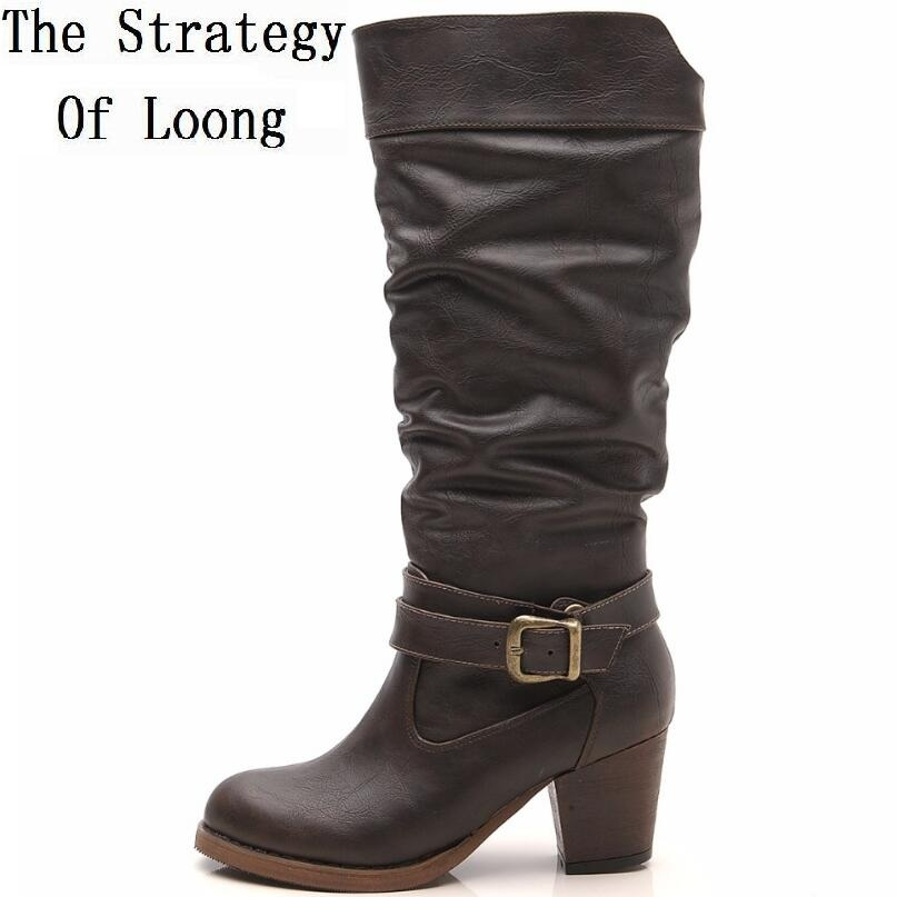 Women Spring Autumn Winter Buckle Vintage Thick Heels Half Boots Genuine Leather Short Plush Thick Warm Lady Retro Mid Calf Boot double buckle cross straps mid calf boots