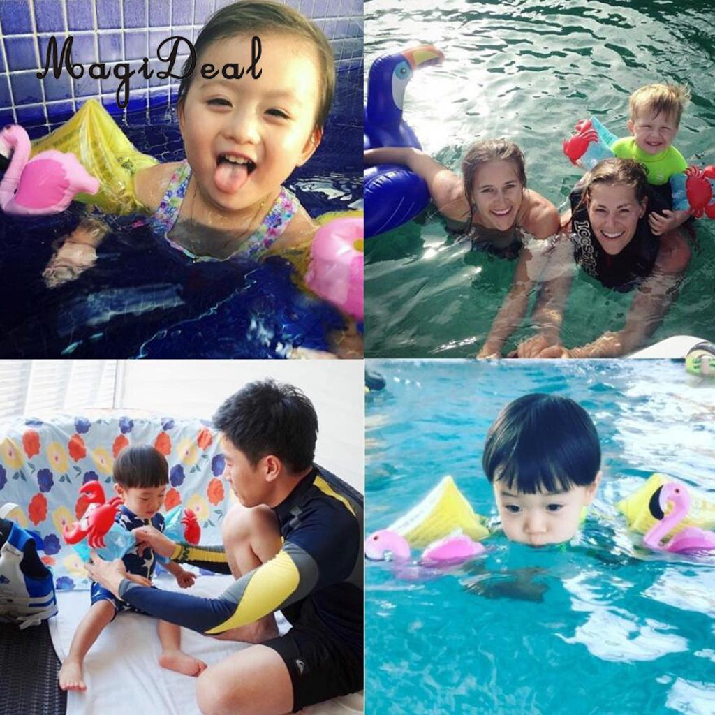 MagiDeal 2pcs Inflatable Swimming Pool Floating Arm Rings Bands Safety Air Sleeves Flamingo/Crab