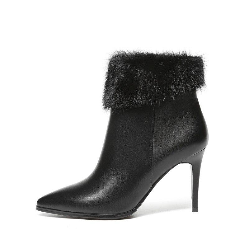 Black Fourrure Automne Style Stylesowner 2018 Noir Talons Véritable De Pointu Haute Femme Bout Avec Luxe Mince Bottes Sexy Qualité Hiver Awn1RHFq