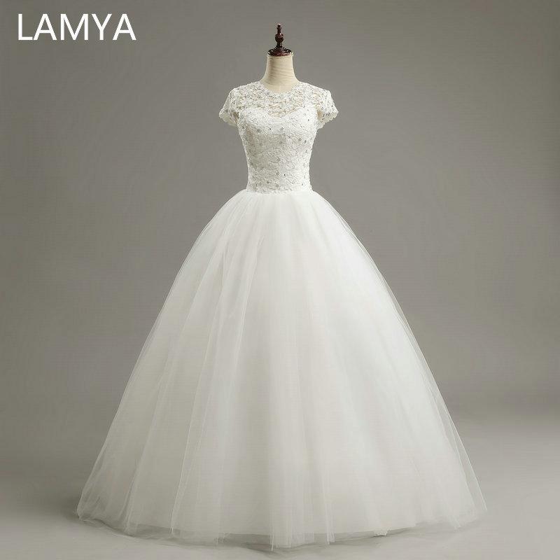 LAMYA vlastní velikost romantické krajky svatební šaty 2019 módní krátké nevěsty šaty levné svatební šaty vestidos de novia