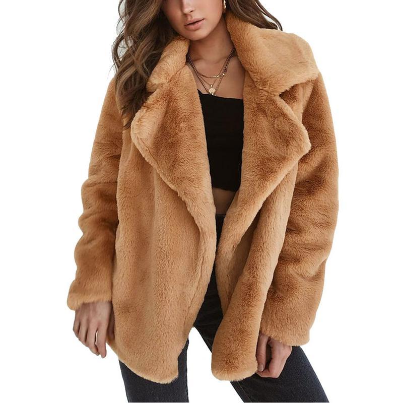 Fur Coat Women Elegant Sexy Warm Plush Lapel Slim Faux Fur Coat Jacket 2018 Autmn Winter Clothes Overcoat Faux Fur Coat Women Faux Fur